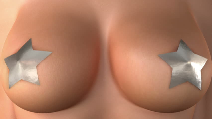 breast, loop-able 3d animation with mask for stars