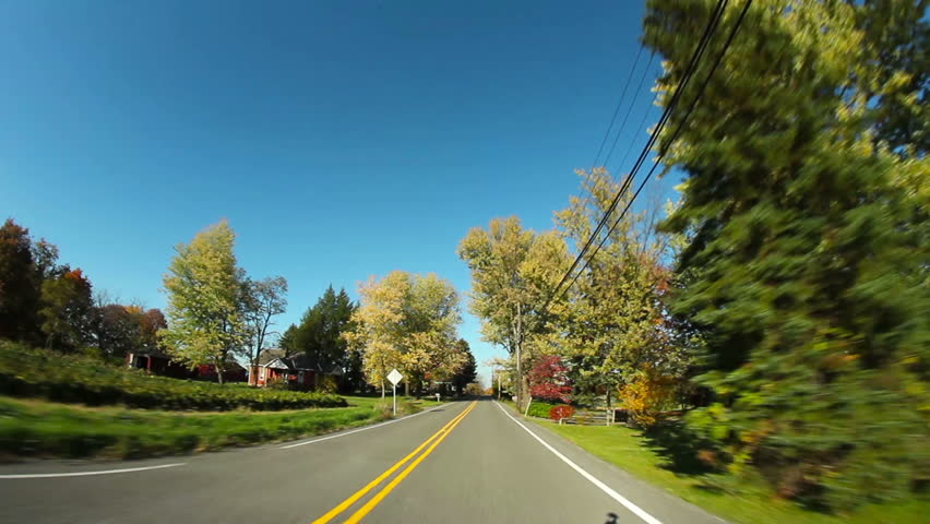 Driver's perspective of the back roads of western Pennsylvania on a crisp Autumn day.