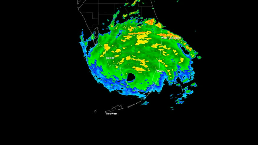 Hurricane Andrew (1994) Landfall Doppler Radar Time Lapse / loop. Created using data provided by NOAA. County / State borders and geographically correct labels for major affected cities are visible.
