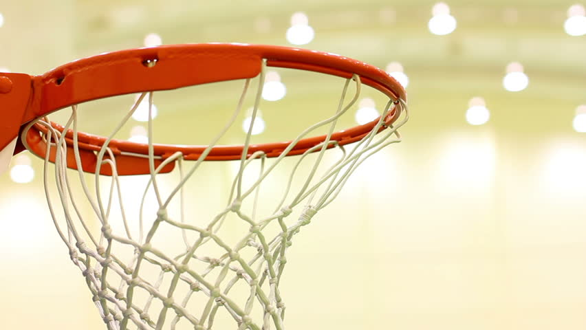 a basketball goes through the hoop - HD stock footage clip