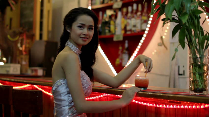 gorgeous Asian woman alone at bar - HD stock footage clip