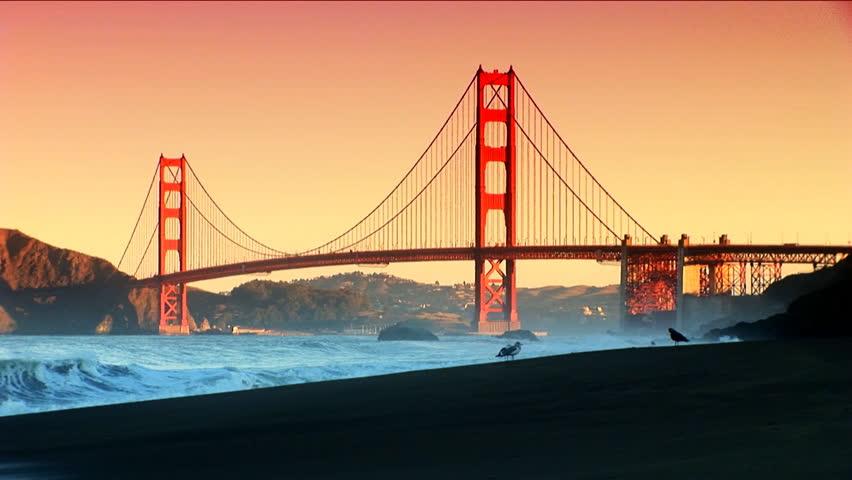 Golden Gate Bridge seen from the shoreline