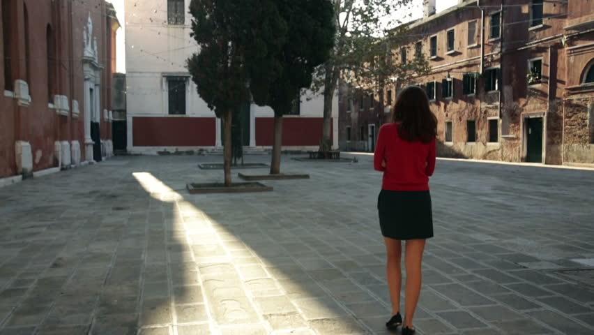 Lonely girl in Venice