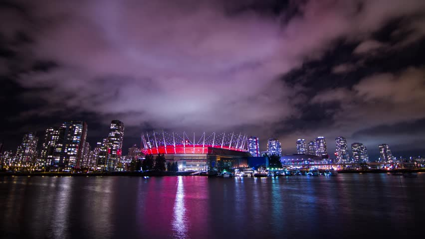 VANCOUVER - CIRCA 2012: Time lapse of BC Place Stadium located in the heart of Downtown Vancouver, Canada circa 2012.