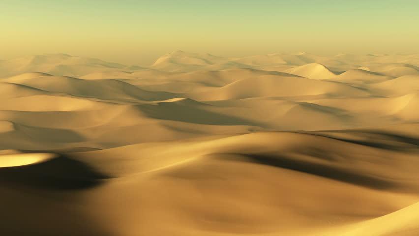 Camera moves along the desert landscape.