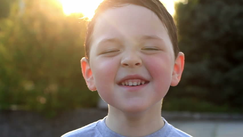 little boy laughs and smiles 3 - HD stock video clip
