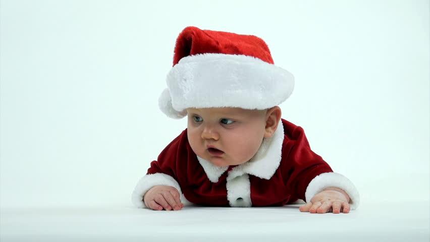 Cute 7-month-old Baby Boy In Red Santa Claus Outfit On ...