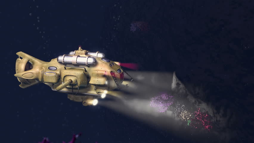 Research Submarine Descent Animation 3D