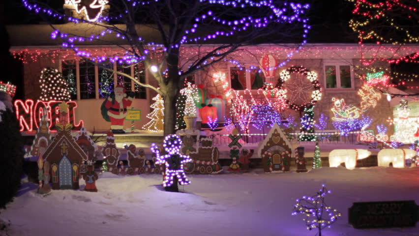 Canadian Houses Decorated With Colourful Christmas Lights For The Festive Christmas Holidays