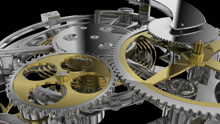 Clock mechanism and gears with alpha channel v.2 - HD stock footage clip