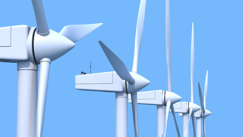 Row of wind power generators on blue background