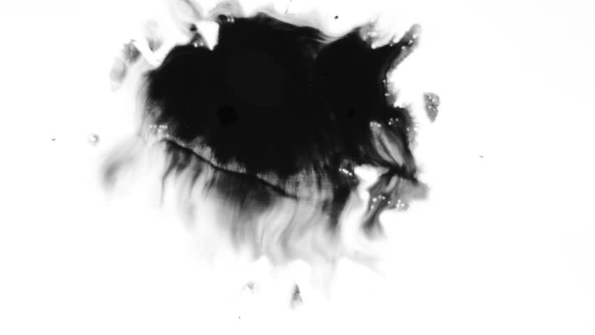 Ink splatter on white/Ink Bleed Bloom/Black expanding