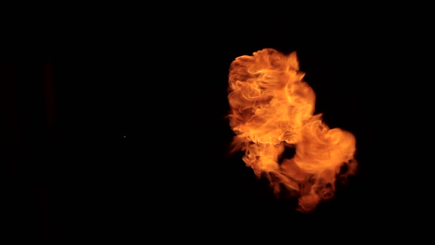 Flames bursting on black background - HD stock video clip
