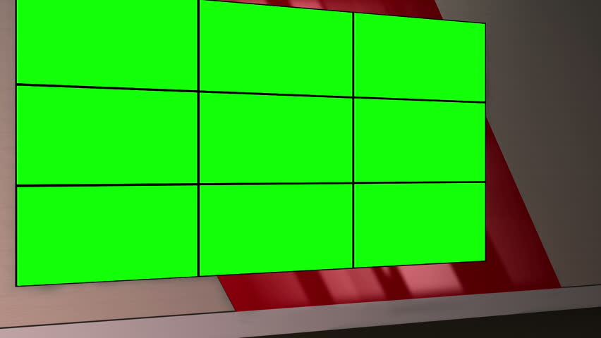 Virtual Set 12 - Standing Newsroom Studio Background Shot | This is a virtual studio background that can be used in green screen video production to place your presenter into a newsroom.