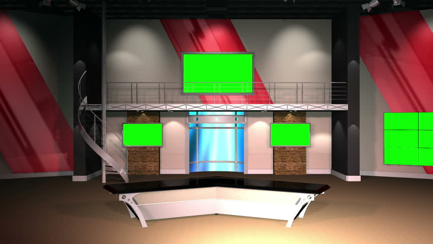 Virtual Set 12 - Establishing Shot Newsroom Studio Background Shot | This is a virtual studio background that can be used in green screen video production to place your presenter into a newsroom.