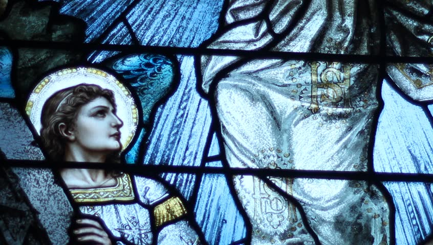 Religious stained glass window - HD stock video clip