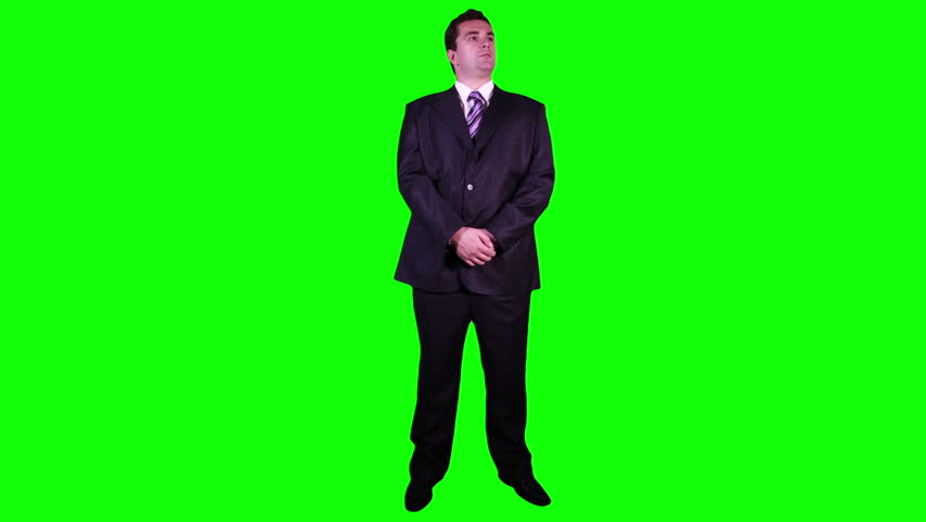 Bodyguard Watching Full Body Greenscreen  Footage was shot against green screen and is keyed out The background is pure green that's why removing the green is easy Green spills are removed - HD stock footage clip