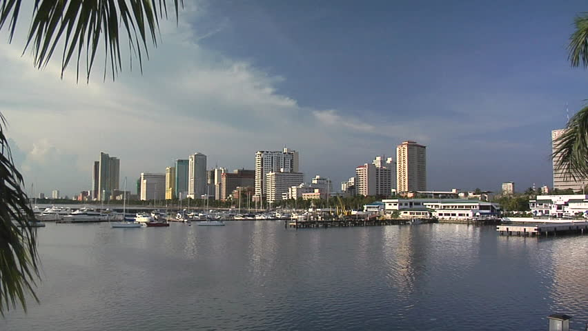 Manila Bay and the Manila Yacht Harbor with the Skyline of Malate, Philippines