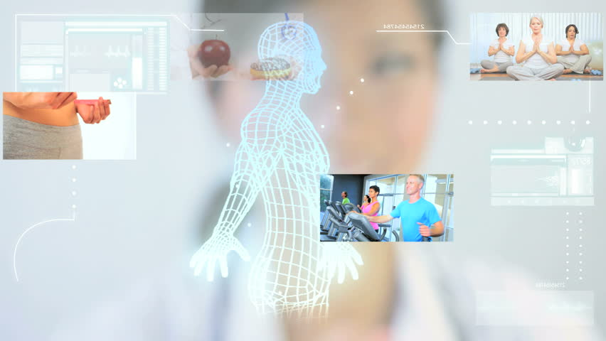 Montage images digital touch screen bionic man and medical research with people following healthy lifestyle