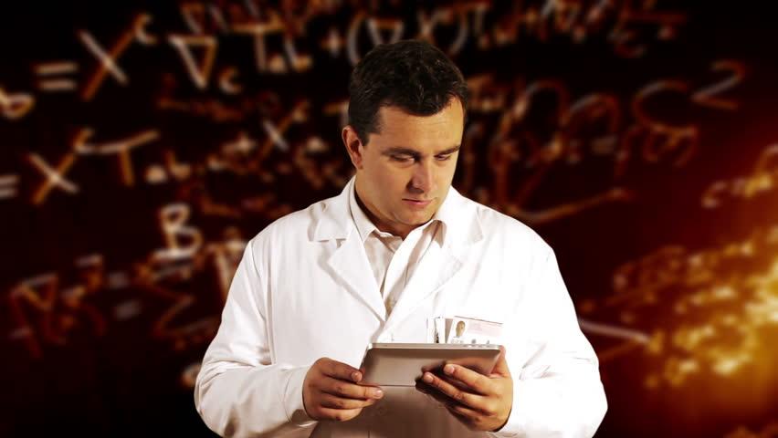 Scientist Using Tablet PC Scientific Mathematics Background - HD stock video clip