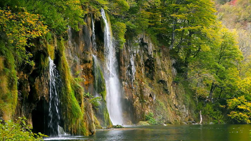 Waterfall in the forest - HD stock footage clip