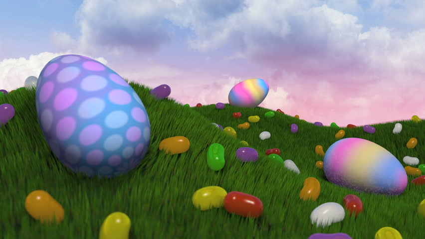 """Easter Title Intro.   A short journey past easter eggs and jelly beans on grassy hills. Camera comes to a stop and """"Happy Easter"""" appears with subtle particle emission. - HD stock footage clip"""