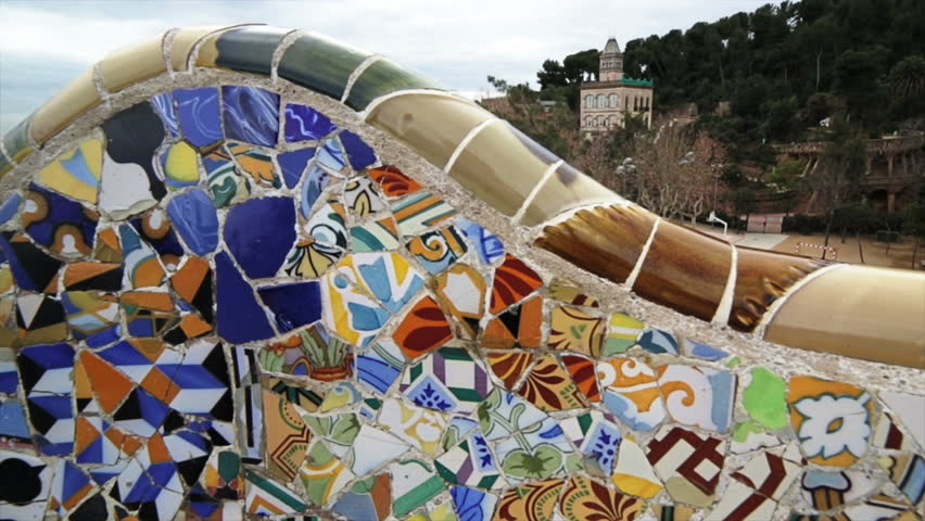 SPAIN, BARCELONA - CIRCA JANUARY 2013 Detail of the mosaics in bench at the park Güell of the arquitect Gaudi in Spain