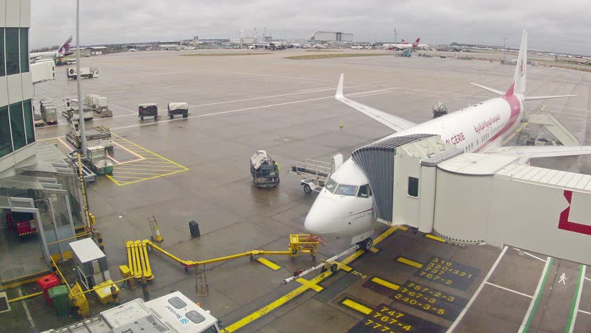 LONDON - JANUARY 29: (Time lapse) Heathrow airfield airport - view from the terminal on January 29, 2013 in London, UK.