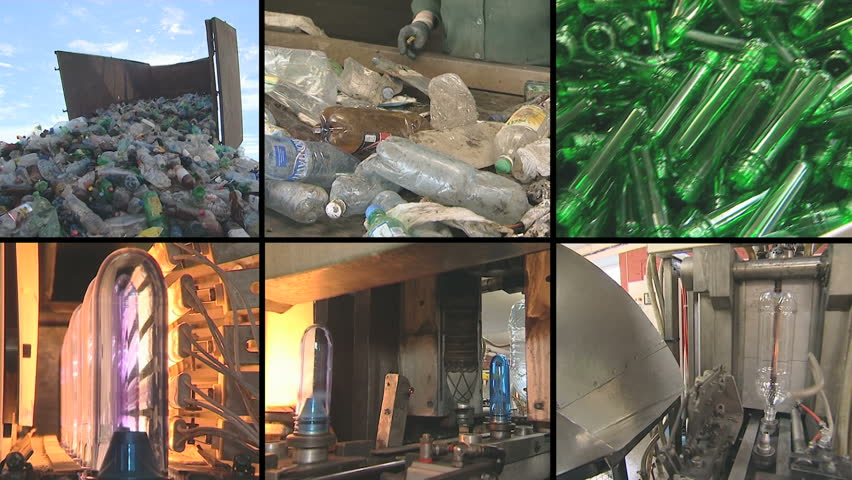 collage montage of video clips showing pet bottle recycling and production equipment in industrial factory. PAL video clips collection joined to HD.