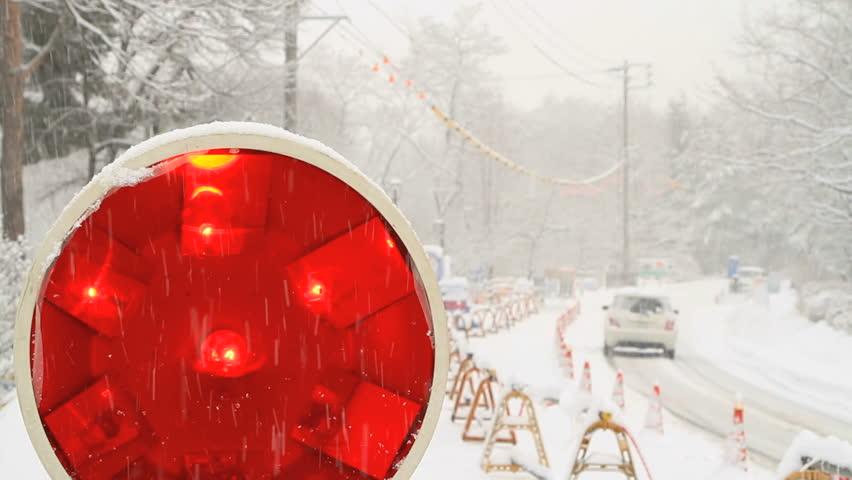 Road Work lights, road construction.