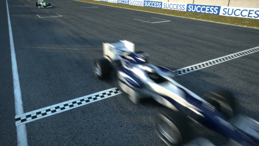 Formula one racecars crossing finishing line - static cam - high quality 3d animation - visit our portfolio for more