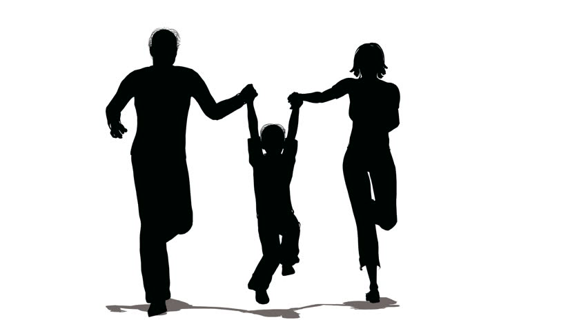 running family with hanging child silhouette  - HD stock footage clip