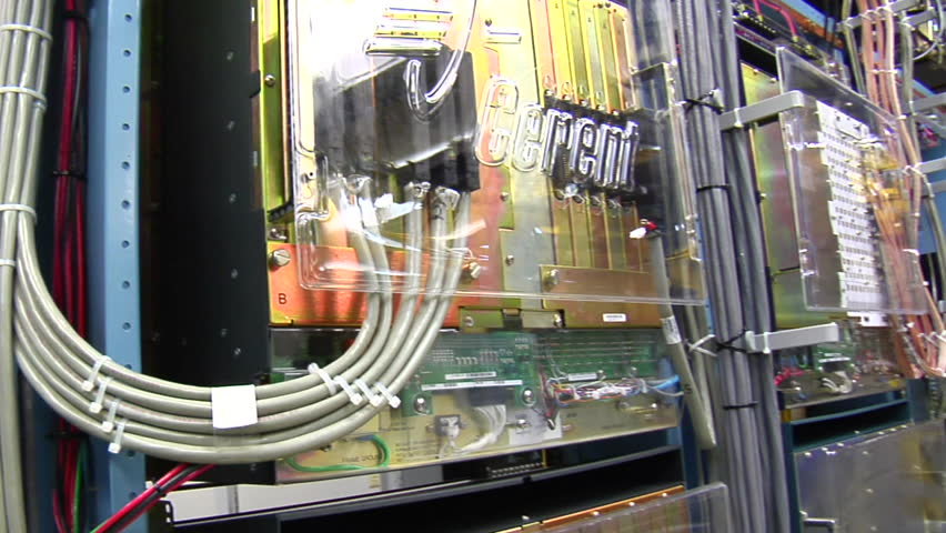 sweeping past racks of computer servers and equipment - HD stock video clip