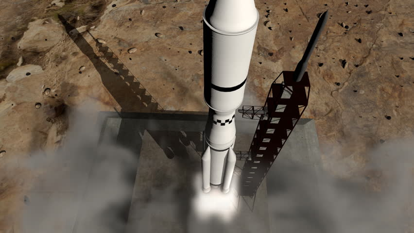Close-up of a rocket launch to space. Detailed animation with dynamic smoke and exhaust.