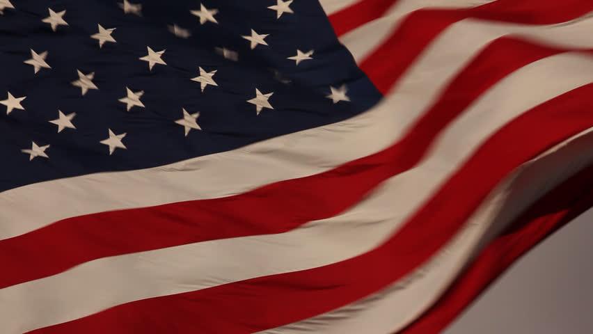 Elegant Nylon American Flag Waving in the Wind. - HD stock video clip