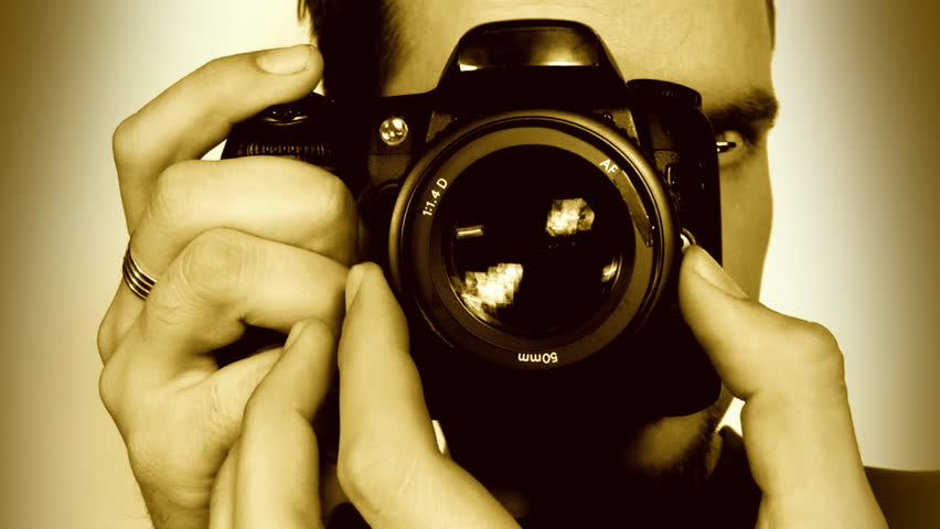 Photographer shooting, sepia, sound, HD