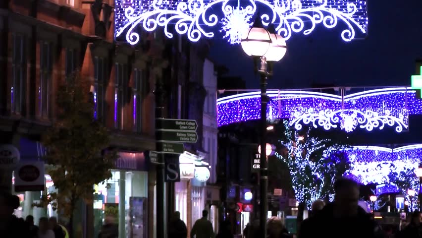 Christmas Lights and shoppers - Market Square, Staffordshire, England - HD stock footage clip