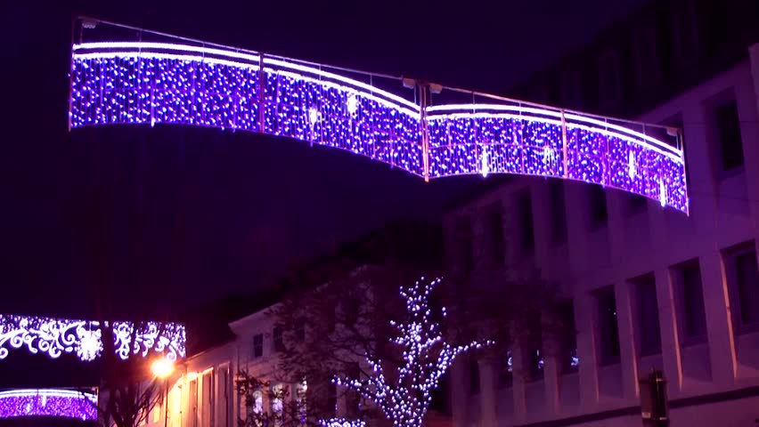 Christmas Lights - Street Decoration -  Market Square, Staffordshire, England - HD stock video clip