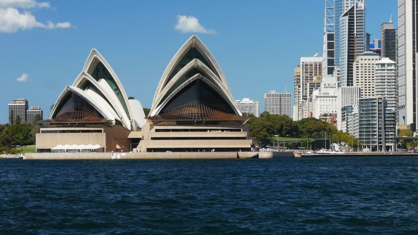 SYDNEY, AUSTRALIA - MARCH 13: Sydney Opera House, view from Kirribilli on March 13, 2013 with the Manly ferry in the foreground