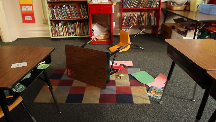 Shot Of Knocked Over Desk And Chair In Classroom Hd