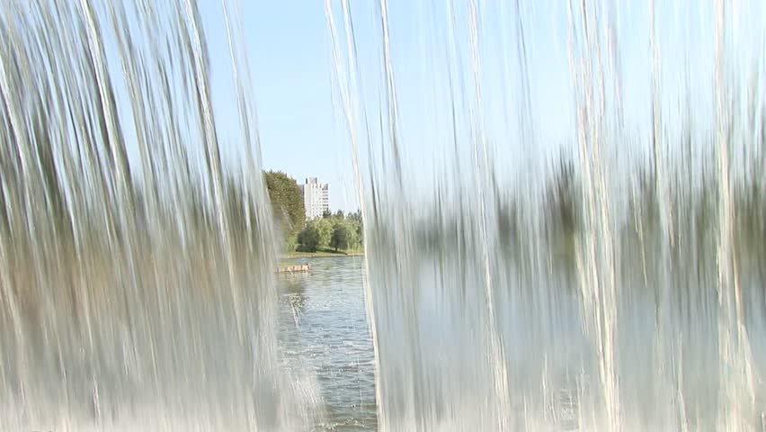 close shot on big beautiful artificial waterfall indoor - HD stock footage clip