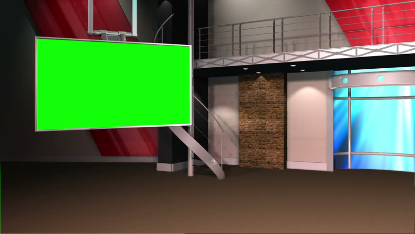 This is a virtual studio or virtual set background which can be used in green screen / Chroma key video production to place your talent / presenter into a newsroom type environment.