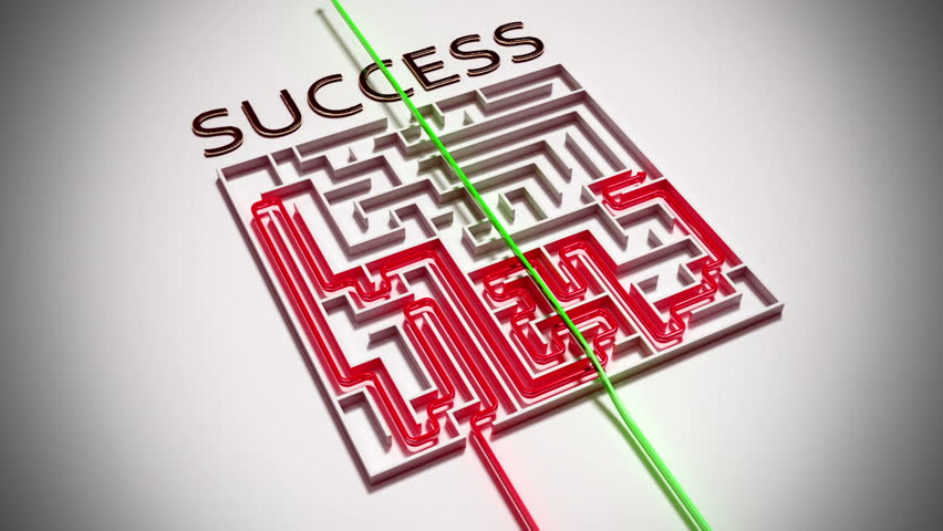 Cheated way to succes in complex maze. 3d animation. - HD stock video clip