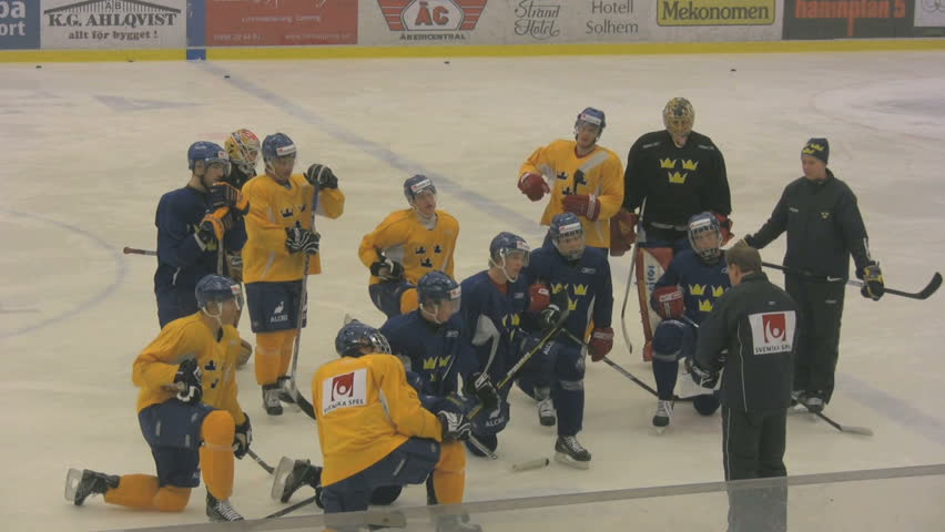 The swedish hockey team training in for the world championship April  2009 - HD stock video clip