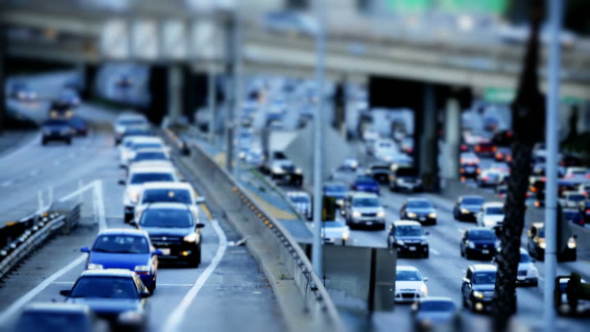 Tilt Shift Time Lapse of Highway Traffic Downtown Los Angeles Circa March 2013