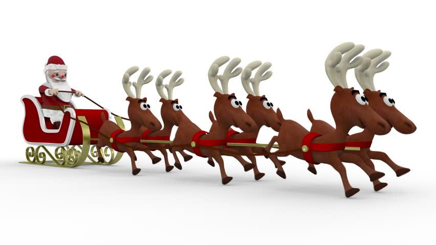 Santa's Running Deers - HD stock footage clip