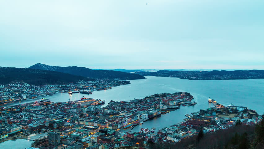 Sunset over the fjords. Bergen, Norway. TimeLapse