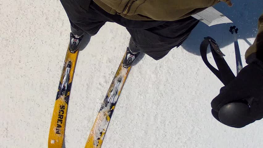 Spring Skiing at Ski Resort - HD stock footage clip