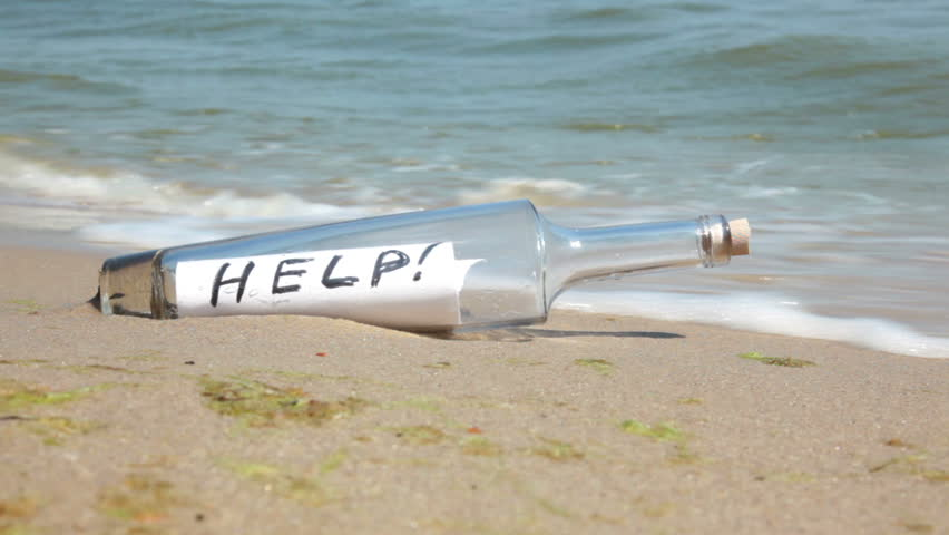 Beach. Sunny weather. Sand. Surf wave brought a bottle with a note inside. It says HELP!