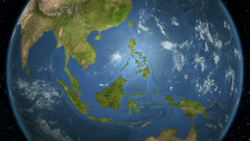 Loopable spinning Earth with South East Asia country maps displaying. Each country border freeze a few seconds to let you edit and change the order or duration.
